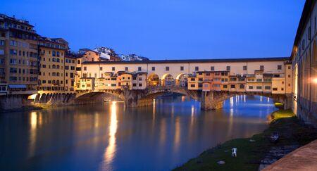 ponte vecchio:  Florence - Ponte Vecchio bridge - morning  Stock Photo