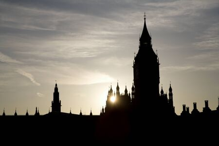 London - sunset over Big Ben - silhouette  Stock Photo