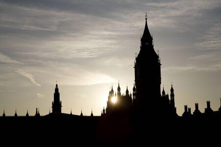 ondon:  London - sunset over Big Ben - silhouette  Stock Photo