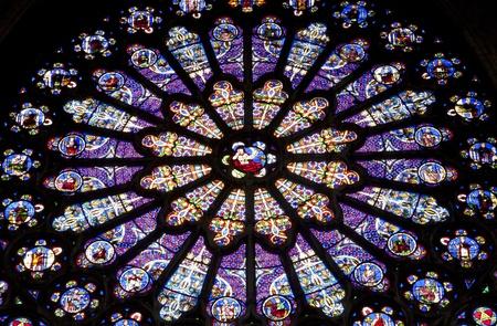 religiosity: Paris - rosette in st.Denis cathedral