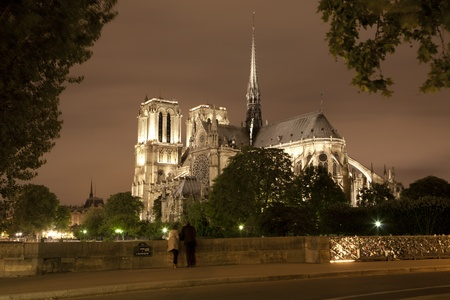 religiosity: Paris - Notre Dame cathedral in night  Stock Photo