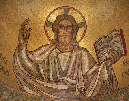 Paris - mosaic of Jesus from main apsis of Pastor bonus church  Editorial