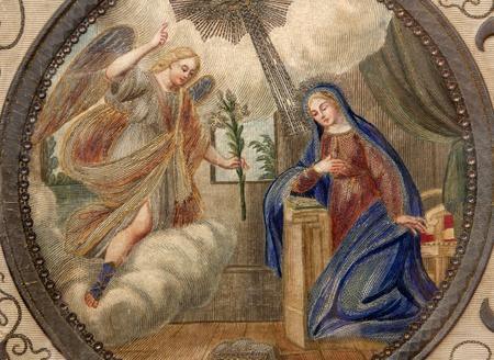 cappella: Mil�n - Annuntiation - detalle de la antigua bandera del museo de la Cappella Portinari