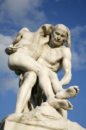 Paris - Statue of The Good Samaritan by Francois-Leon Sicard - Tuileries garden  Stock Photo