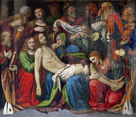 bernardino: Milan - Deposition of Christ - Cappella della Passione in San Giorgio church by Bernardino Luini, 1516. Editorial