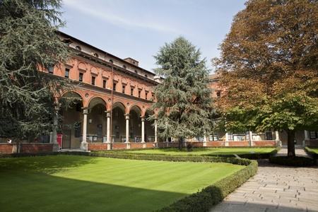 Milan - atrium of catholic university Stock Photo