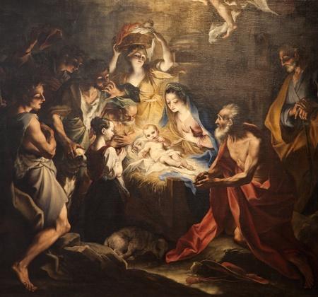 nacimiento de jesus: nacimiento de Jes�s - la pintura de la iglesia de Mil�n