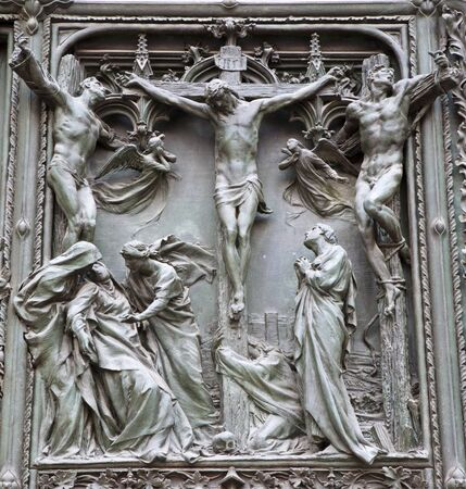 calvary: Milan - detail from main bronze gate - crucifixion - Pogliaghi 1906
