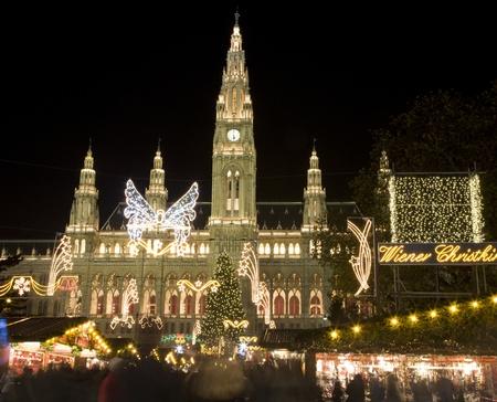 christmas market: Vienna - townhall and christmas market Stock Photo
