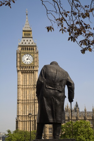 London - Big Ben and Winston Churchill statue Stock Photo - 11798698