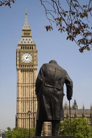 statuary: London - Big Ben and Winston Churchill statue