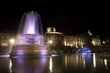 trafalgar: London - Trafalgar square in night - fountian  Stock Photo