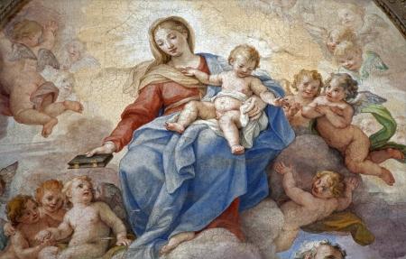 cat�licismo: Roma - detalle de la pintura santa Mar�a de Santa Maria degli Angeli bas�lica
