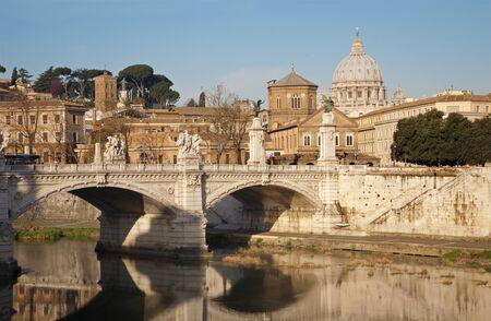 Rome - Vittorio Emanuel bridge and St  Peter s basilica in morning Stock Photo - 14867052
