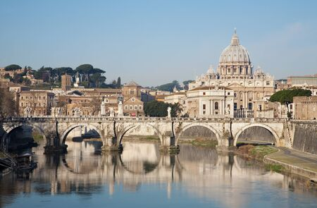 Rome - Angels bridge and St  Peter s basilica in morning Stock Photo - 14867014