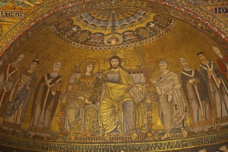 Rome - old mozaik  Corontation of the Virgin  from main Apse of Santa Maria in Trastevere church from 13th-century by Pietro Cavallini