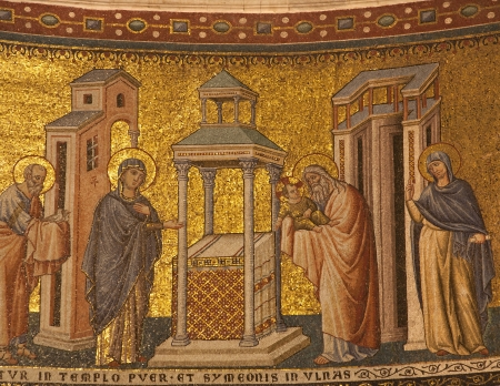Rome - mosaic of Presentation in the Temple in Santa Maria in Trastevere basilica by Pietro Cavallini from year 1291