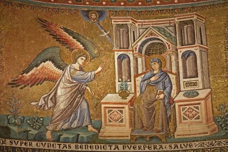 Rome - mosaic of Annuntiation in Santa Maria in Trastevere basilica by Pietro Cavallini  1291