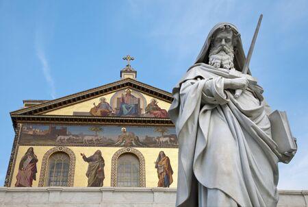 slasher:  Rome - st  Paul s satatue for st  Paul basilica - St  Paolo fuori le mura basilica