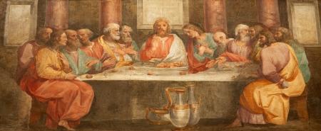 eucharist: Rome - fresco of Last super of Christ form church Santa Prassede