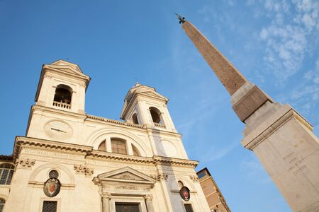 monti:  Rome -  Chiesa della Trinita dei Monti church and obelisk