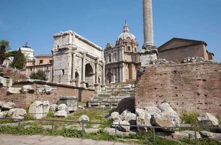 severus:  Rome - forum romanum - the arch of Triumph of Septimus Severus and st  Lucke chruch