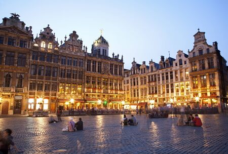 Brussels - The main square and Town hall in evening Grote Markt