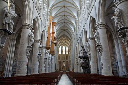 nave: BRUSSELS - JUNE 22  Nave of gothic cathedral of Saint Michael on June 22, 2012 in Brussels   Editorial
