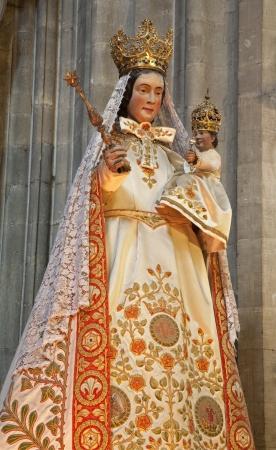 GENT - JUNE 23  Virgin Mary statue in the needlework from Notre Dame du Sablon church on June 23, 2012 in Gent, Belgium