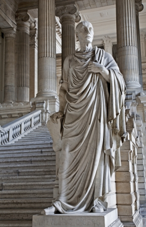 orator: BRUSSELS - JUNE 22  Statue of ancient orator and philosopher Cicero from vestiubule of Justice palace on June 22, 2012 in Brussels