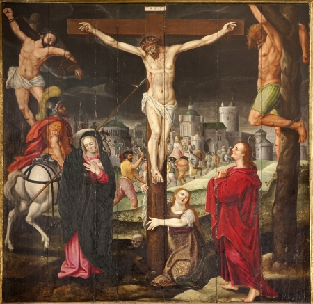 GENT - JUNE 23  Crucifixion from side altar in underground chapel of st  Baaf s Cathedral on June 23, 2012 in Gent, Belgium