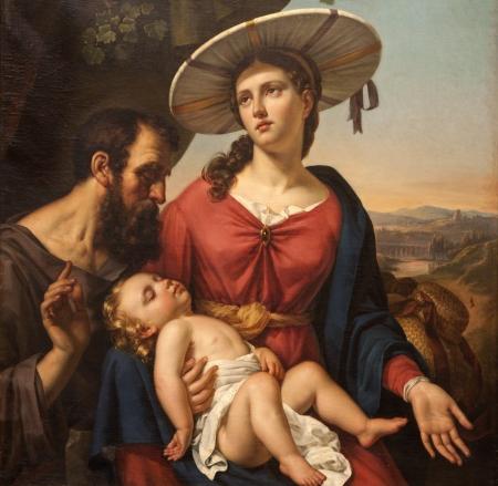 cat�licismo: GENT - 23 DE JUNIO pintura de la Sagrada Familia de la iglesia de San Pedro, s el 23 de junio de 2012 en Gante, B�lgica Editorial