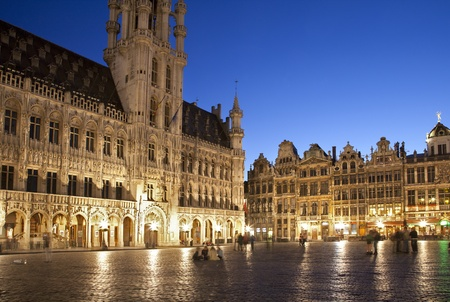 the old town hall: Brussels - The main square and Town hall in evening  Grote Markt