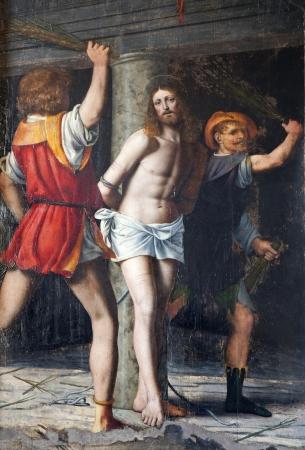 flagellation: Milan - Flagellation of Christ, Cappella della Passione in San Giorgio church by Bernardino Luini, 1516  Editorial