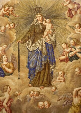 angel gabriel: Milan - Virgin Mary - scapular - detail from old flag