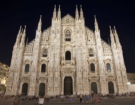 Milan - westfacade of cathedral at night