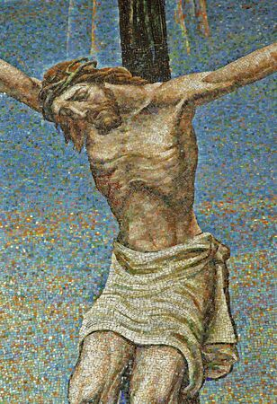 crucifiction: Milan - mosaic - Jesus on the cross - San Agostino church