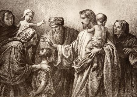 Jesús y niños - grabado por Lepold Flumeng desde temprano en 20 céntimos