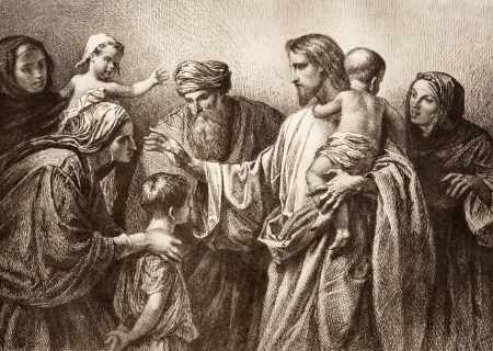 Jesus and children - engraving by Lepold Flumeng from early in 20  cent