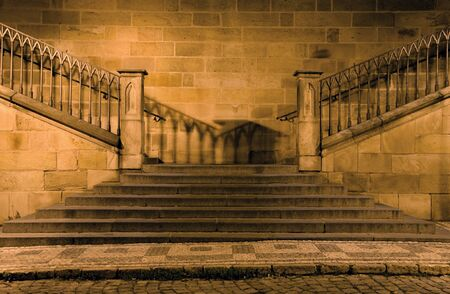 notability:  detail of charles bridge in prague - stairs in the night  Stock Photo