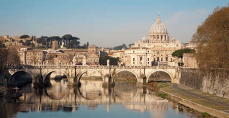 Rome - Angels bridge and St  Peter s basilica in morning Stock Photo - 14983215