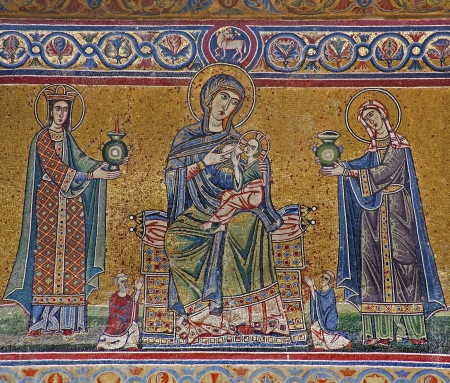 Rome - mosaic from facade of  Santa Maria in Trastevere basilica