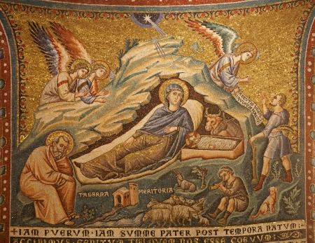 Rome - mosaic of The Nativity in Santa Maria in Trastevere basilica by Pietro Cavallini from year 1291 Editorial