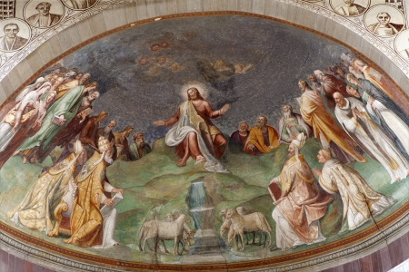 christ the king: Rome - Jesus the Teacher fresco from church Santa Sabina Editorial