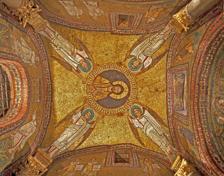 Rome - old mosaic from roof of side chapel from Santa Prassede church