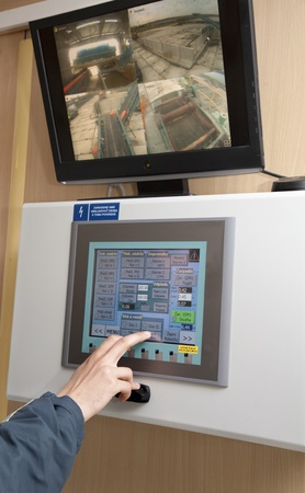 touch panel monitor and hand Stock Photo