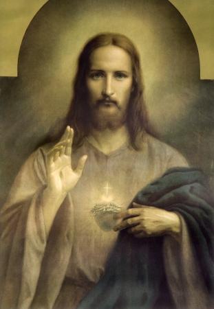Cuore di Gesù Cristo - tipica immagine cattolica Archivio Fotografico - 15171080
