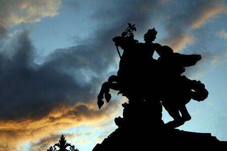 statuary garden: Paris - silhouette of statue of Renommee  from Tuileries garden