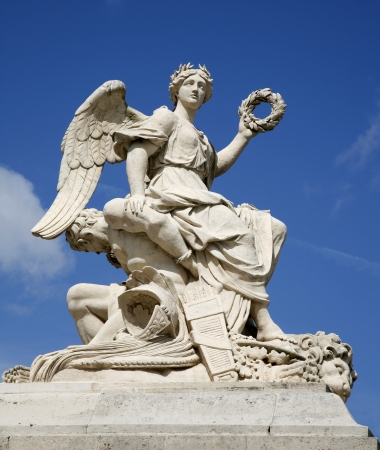 statuary garden:  Paris - statue of angel from gate of Versailles palace  Stock Photo