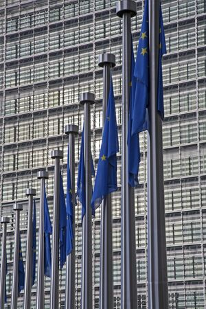BRUSSELS - JUNE 24  European commission building and EU flags from Schumann square on June 24, 2012 in Brussels  Stock Photo - 15156842